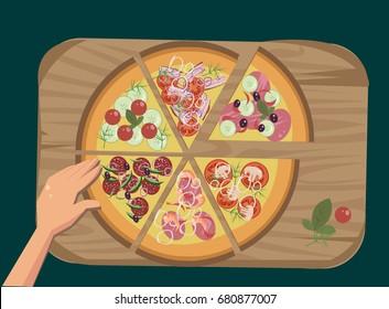 big pizza set - Shutterstock ID 680877007