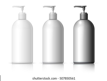 Big plastic bottle for cosmetics. In black, gray and white. Packing for shampoo, conditioner, bath foam. vector illustration.