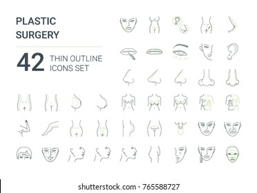 Big plastic surgery icons set. 42 icons in flat minimalistic line style.