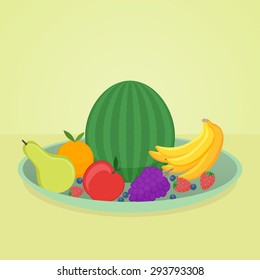 Big plate with fresh fruits - watermelon, orange, pear, apple, grapes, bananas and some berries (strawberries, blueberries). Vector flat illustration.