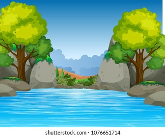 Big Pond in Beautiful Valley illustration