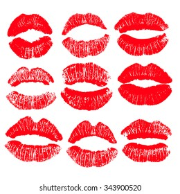 Big print set of red lips. Vector illustration on a white background. EPS