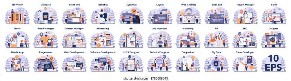 Big IT profession set. Programmer write software and create code for computer. Coding script for project and app. Digital technology for website, interface and devices. Vector illustration.