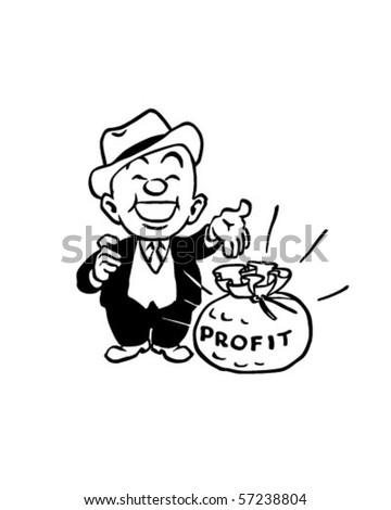 Big Profit Man Bag Cash Retro Stock Vector Royalty Free 57238804