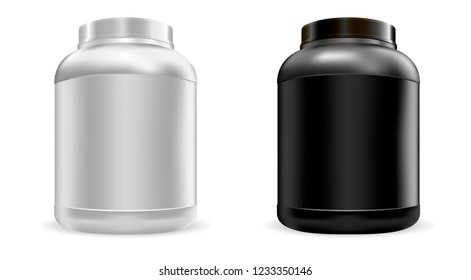 Big protein nutrition jars mockup set. Sports food gainer can. Vector whey protein bottles template in black and white color.