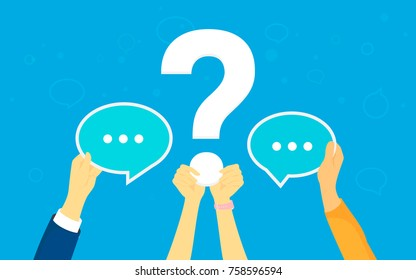 Big question concept vector illustration of texting to live chat, asking for help via internet. Flat human hands hold question symbol and speech bubbles as answers and support on blue background