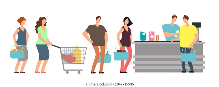 Big queue shopping people at cash desk with cashier in supermarket cartoon vector illustration. Queue to cashier in grocery, customer with purchase in supermarket