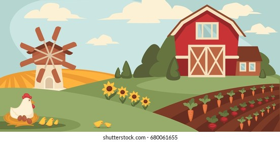 Big ranch with wide field, vegetable beds and paultry