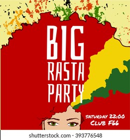 Big Rasta Party, party flyer with girl