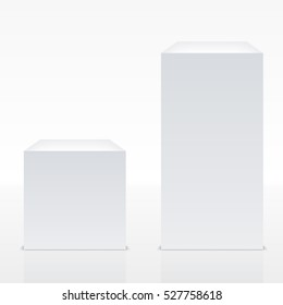 Big Realistic White Cube With Shadow. EPS10 Vector