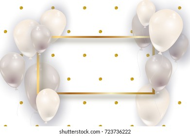 Big realistic white and silver air balloons vector illustration. Beautiful golden frame, gold glitter dots pattern, flyer party, birthday template.