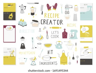 Big Recipe Creator template set for cookbook. Menu Creator Vector Illustration