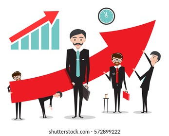 Big Red Arrow with Businessmen. Success Graph Vector Illustration Isolated on White Background.