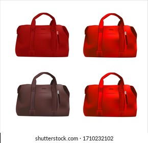 Big red bag realistic vector illustration isolated on white background. Suitcase for travel.