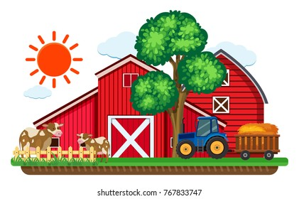 Big red barns and two cows in the farm illustration