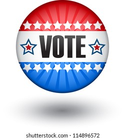 Big red and blue usa vote symbol