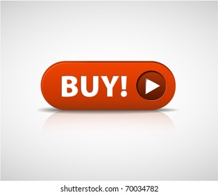 Big red  buy now button with shadow and reflections