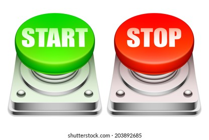 Big red and green buttons with 'Start' and 'Stop' words.