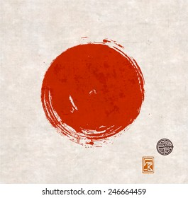 Big red grunge circle on vintage rice paper. Sealed with decorative red stamps. Stylized symbol of Japan. Vector illustration.