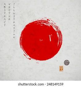 Big red grunge circle on old vintage background. Sealed with decorative stamps. Stylized symbol of Japan. Vector illustration.