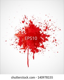 Big red grunge splash on white background. Vector illustration.