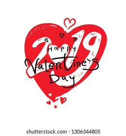 Big red Heart 2019. Happy Valentine's Day 2019 modern calligraphy. Valentines day holidays typography print, postcard, t-shirt and more. Vector illustration