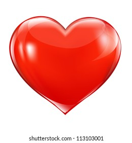 Big Red Heart, Isolated On White Background, Vector Illustration