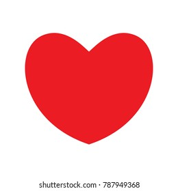 Big red heart on the white background. Icon. Vector illustration.