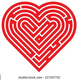 Big red heart showing several intricate paths which compose a complex labyrinth of love