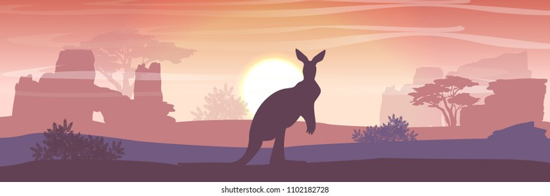 Big red kangaroos are jumping over the Australian plain. Acacia trees and eucalyptus trees. Wild nature of Australia. Realistic vector landscape. Silhouettes of animals and plants. Travels