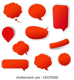 Big Red Labels Set With Gradient Mesh,  Isolated On White Background, Vector Illustration