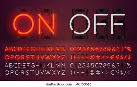Big red neon set glowing alphabet with numbers and punctuation marks. Vector On, Off lamp isolated on dark cherry color background.