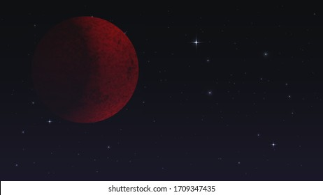 Big red planet or moon in the dark starry sky
