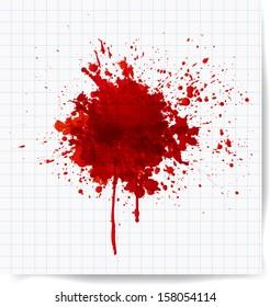 Big red splash on squared paper.. Vector illustration.