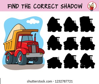 Big red tipper truck. Find the correct shadow. Educational matching game for children. Cartoon vector illustration