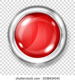 Big red transparent glass button with silver metallic border