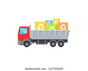 Big red truck takes away square garbage signs. Huge vehicle and trunk full of recycling symbols. Abstract environment care themed vector illustration.