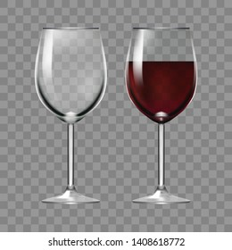 Big Reds Wine Empty Glass And With Wine. EPS10 Vector