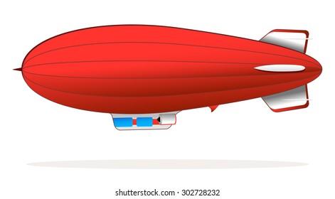 big retro red blimp flying