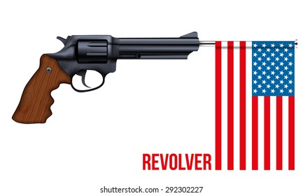 Big Revolver with USA flag. Vector Illustration isolated on white background.