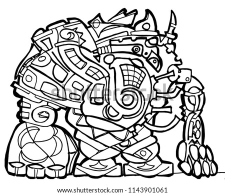Big Robot Coloring Page Stock Vector Royalty Free 1143901061