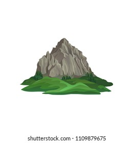 Big rocky mountain surrounded with green plants and grass. Natural landscape for mobile game. Flat vector for travel poster or banner