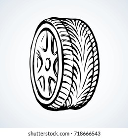 Big round shape tire with grooves on white backdrop. Freehand line black ink hand drawn logo sketchy in art retro scribble style pen on paper. Closeup detail view with space for text on road