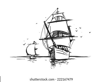 Big Sailboat and tiny sailing yacht in the ocean. Hand drawn style. Vector