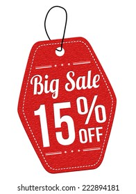 Big sale 15% off red leather label or price tag on white background, vector illustration