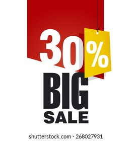 Big Sale 30 percent off red background