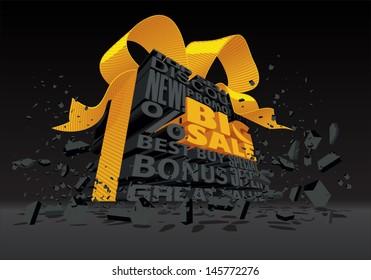 Big Sale - 3d Black Text - Vector illustration of a 3D text box announcing a grand sale.
