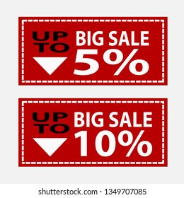 Big sale Up to 5 and 10 percent sale banner. Red Shop Vector Sign