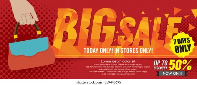 Big Sale 50 Percent 6250x2500 pixel Banner Vector Illustration