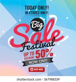 Big Sale 50 Percent Banner Vector Illustration